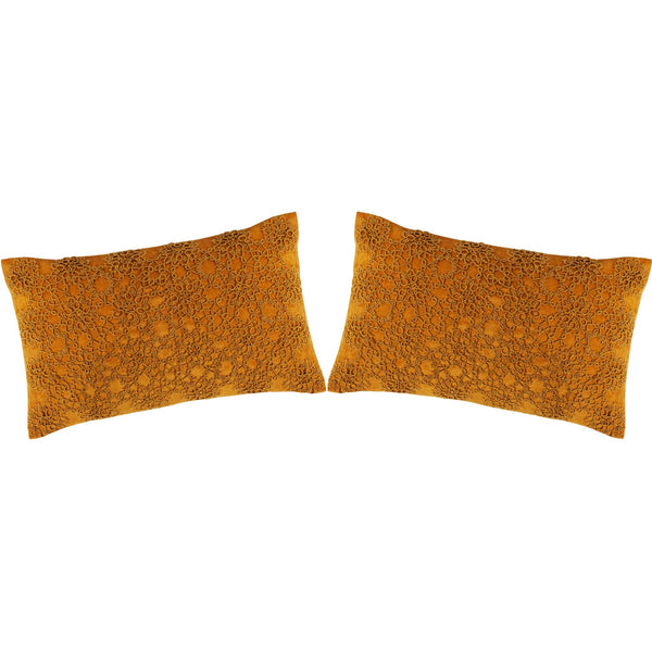Set of 2 Tatted Golden Pillows 12X20""