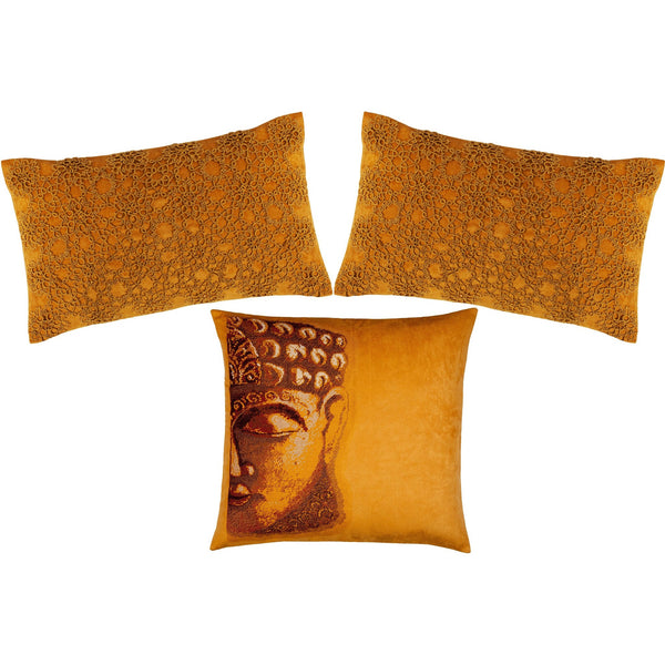 Set of 3: Buddha & Tatted Golden Pillows