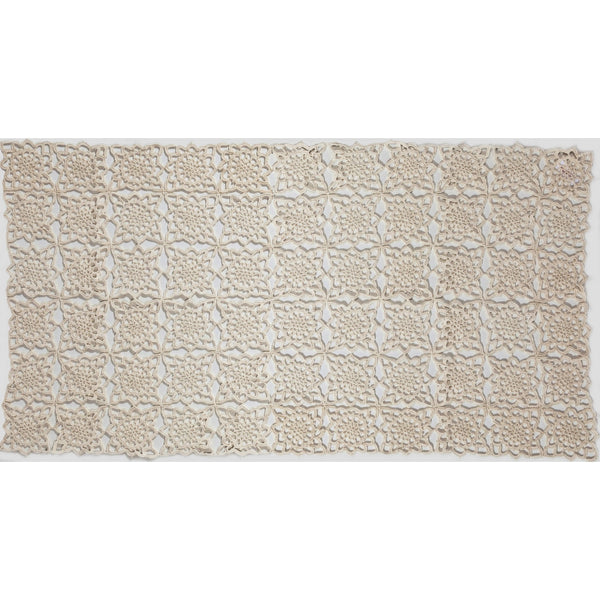 "Crochet table runner white 19 1/2""x36"""