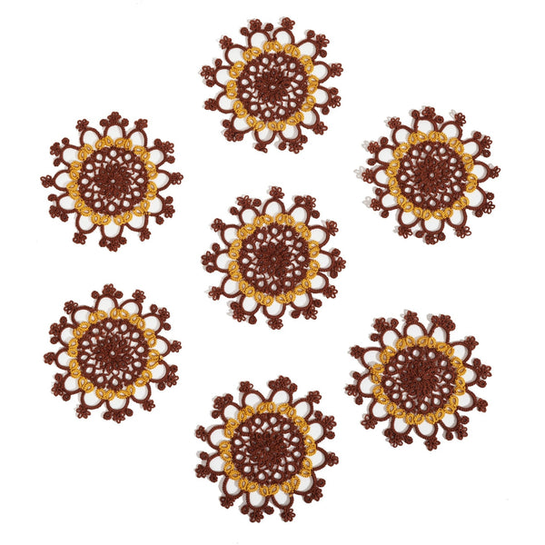 Set of 7 Tatted Chocolate Doilies