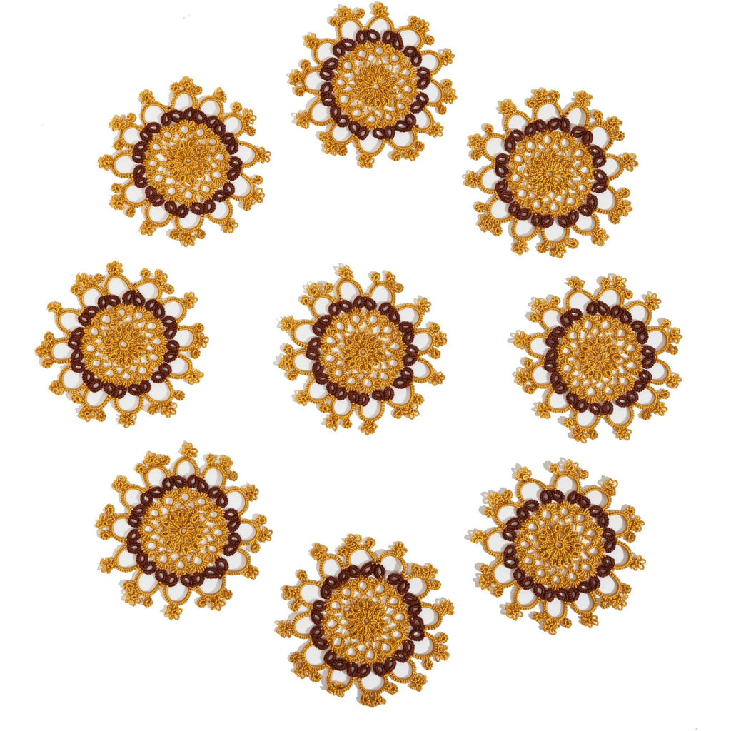 Set of 9 Tatted Golden Doilies