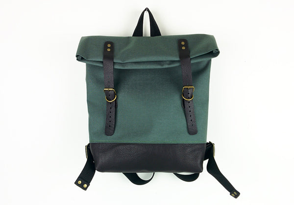 Green Roll Top Backpack