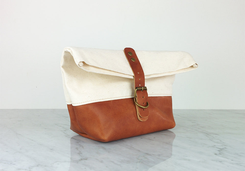 Dopp kit / Leather Canvas Toiletry bag