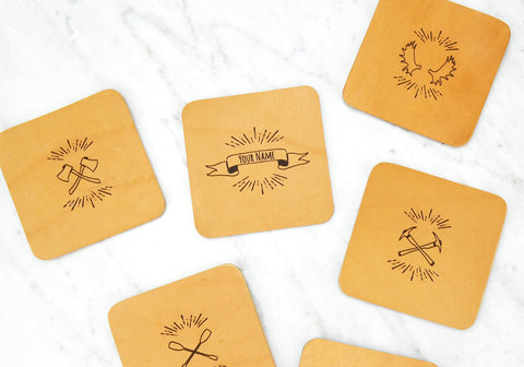 Leather Coasters / Personalized