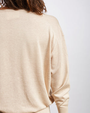 silk cotton v-neck jumper