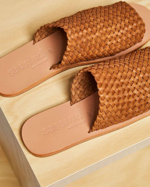 woven leather slide