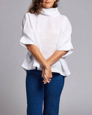 linen high neck blouse