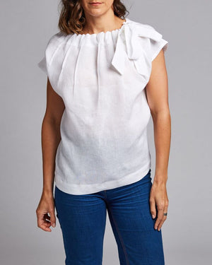 linen tie neck top
