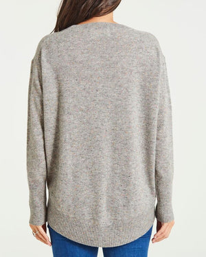 cashmere scoop backed crew neck