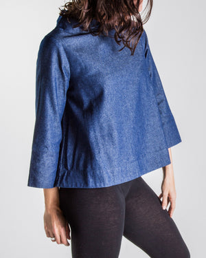 denim relaxed high neck top