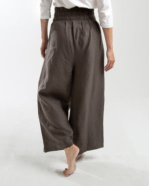 linen wide leg pant with tie detail