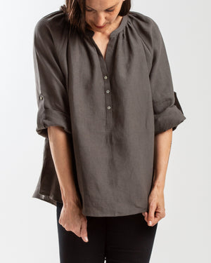 linen scoop back button up blouse