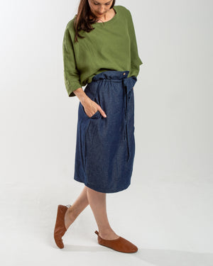 denim drawstring tulip skirt