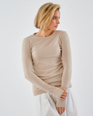 Oslo Cotton Knit Long Sleeve Tee