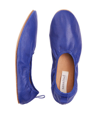 royal blue pinhole high line ballet slipper