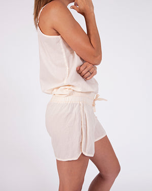 woven cotton drawstring shorts