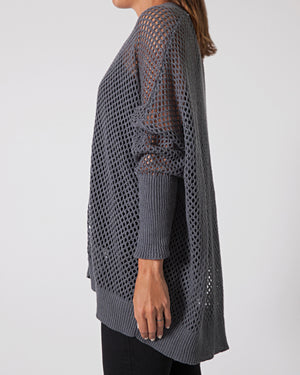 french linen open knit cardigan