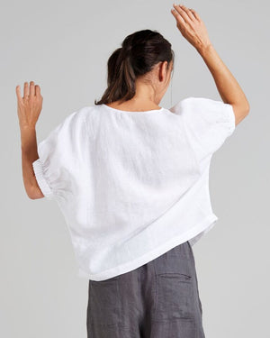 linen elastic sleeved freestyle blouse