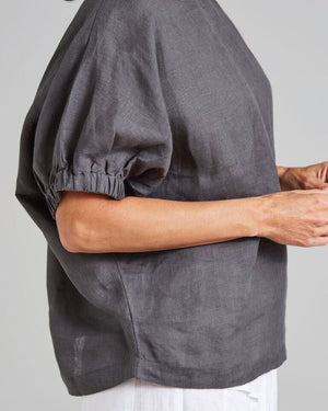 100% linen elastic sleeved freestyle blouse