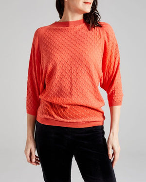 100% cotton fancy knit batwing top