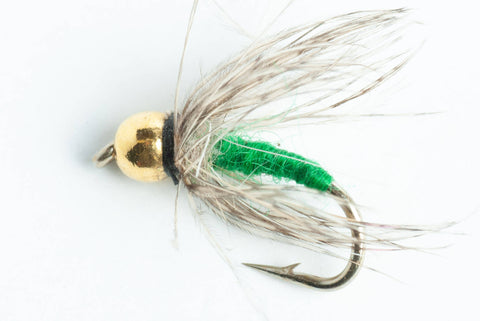 bead head soft-hackle wet fly green