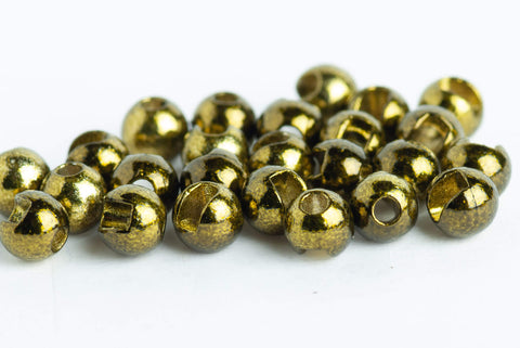 25 Tungsten Slotted Fly Tying Beads Various Sizes Metallic Green