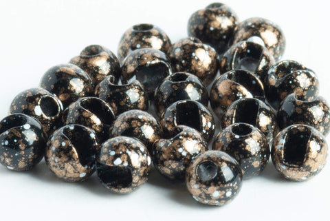 Slotted Mottled Tungsten Beads for Fly Tying  black