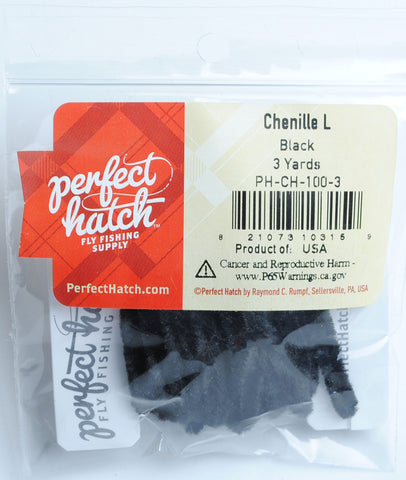 Perfect Hatch Chenille - Large fly tying fishing black