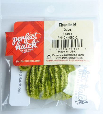 Perfect Hatch Chenille - Medium Wooly Bugger fly tying fishing olive