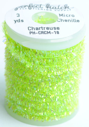 Perfect Hatch Micro Crystal Chenille chartreuse fly tying fishing