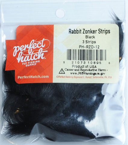 Perfect Hatch Rabbit Zonker Strips black fly tying fishing