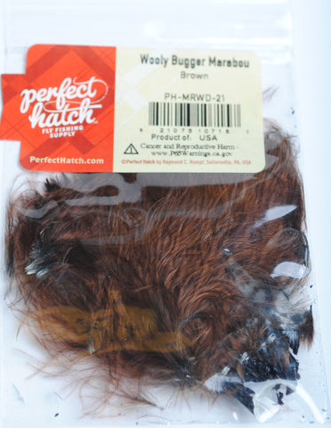 Perfect Hatch Wooly Bugger Marabou brown fly tying fishing
