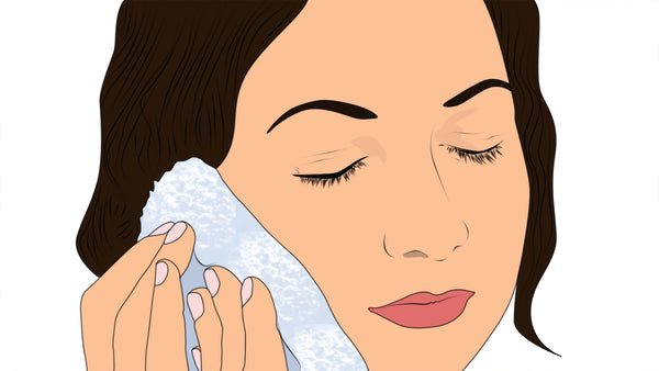 Illustration applying cold or hot compress to face