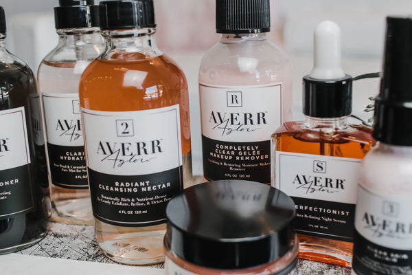 Averr Aglow full collection skincare product line