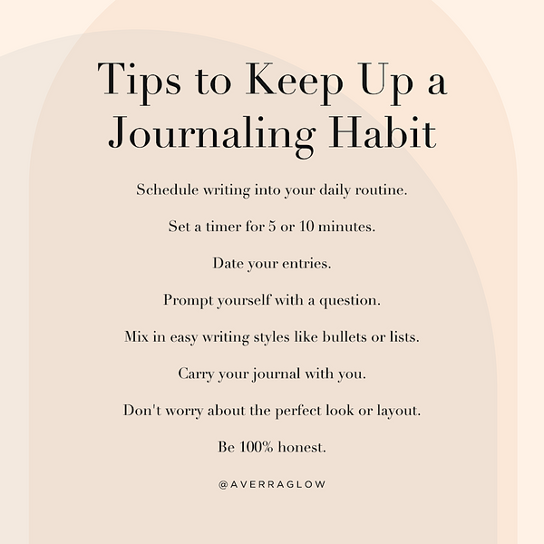 Averr Aglow infographic - Tips to Keep Up a Journaling Habit