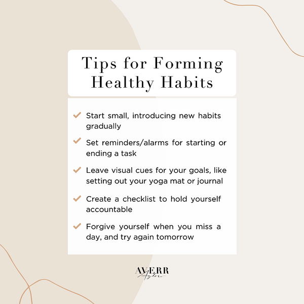 Averr Aglow infographic - Tips for Forming Healthy Habits