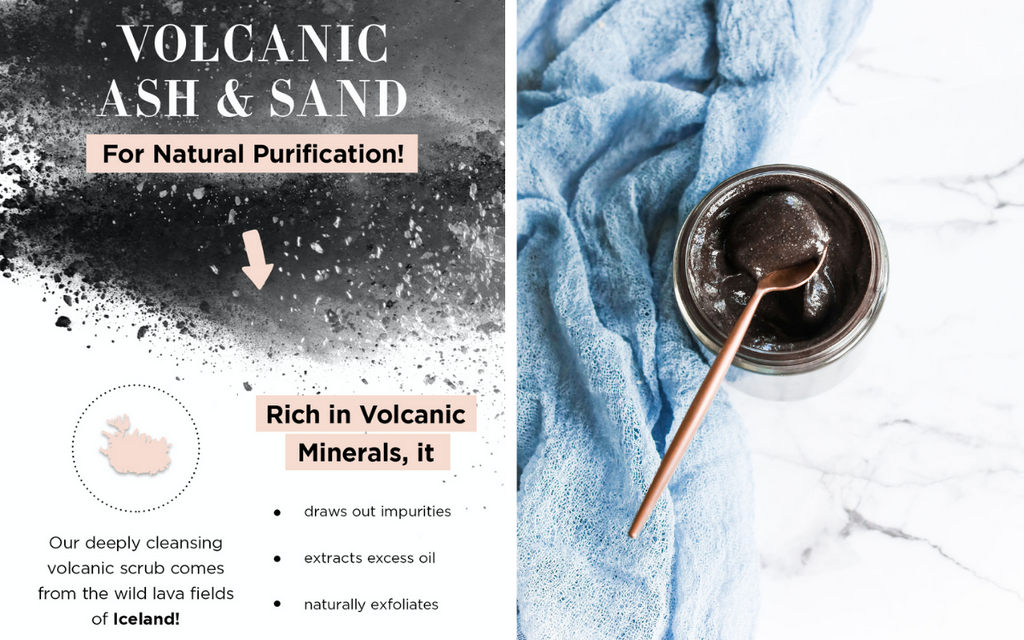 Averr Aglow Rejuvenating Essence Body Polish, made with volcanic ash and sand