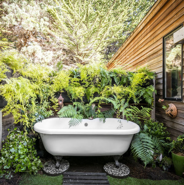 Stunning outdoor clawfoot bathtub with live plant wall