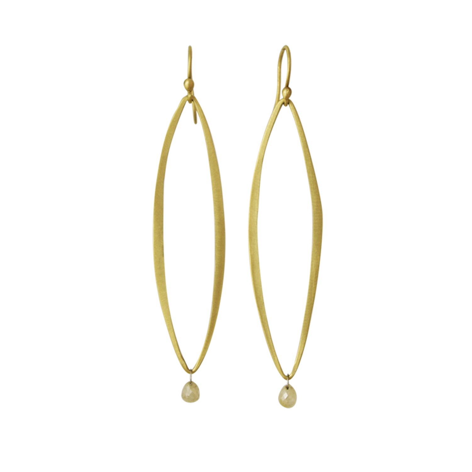 Open Link Earrings with Diamond Briolette Drops