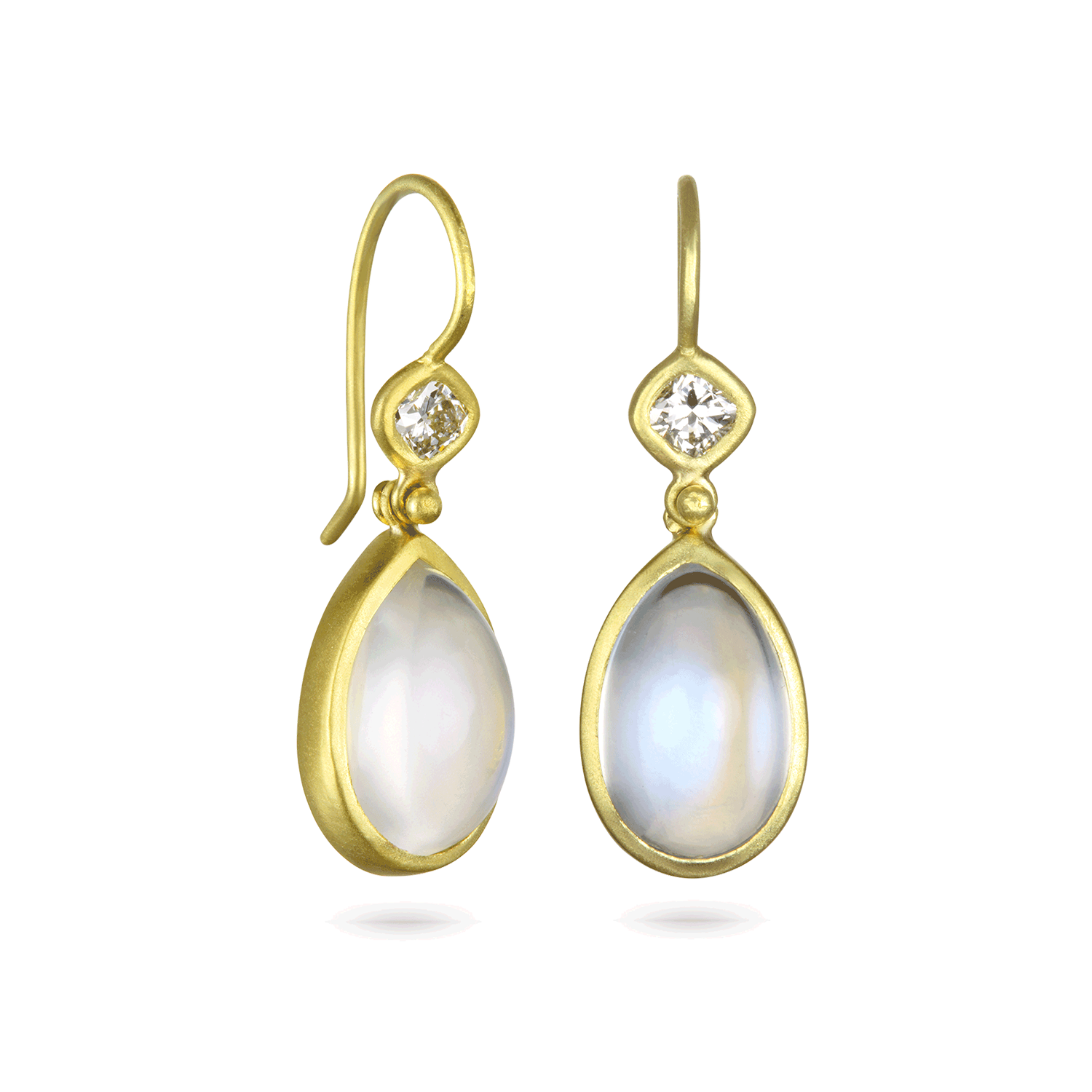 Diamond and  African Moonstone Hinge Earrings