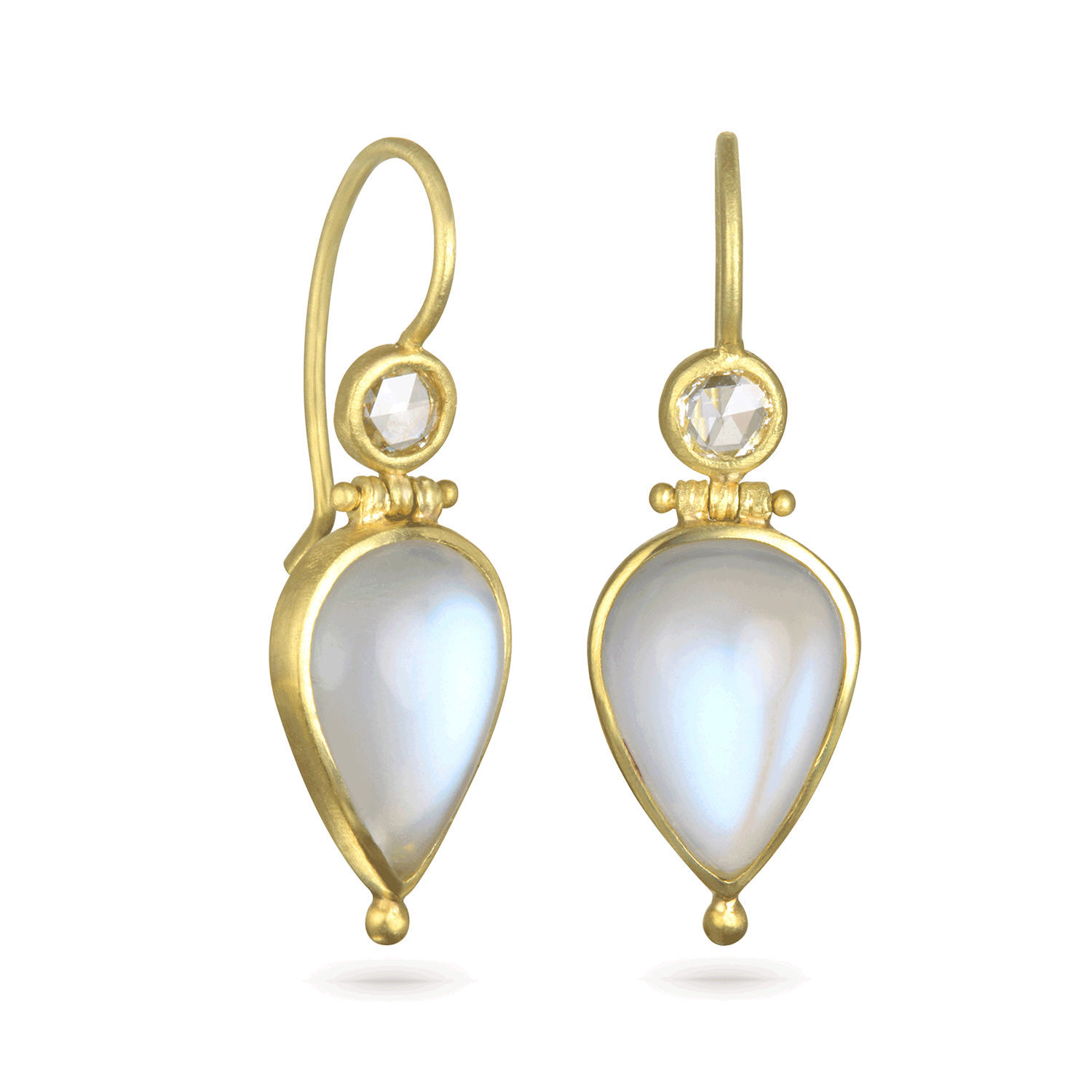 African Moonstone and Rose Cut Diamond Hinge Earrings