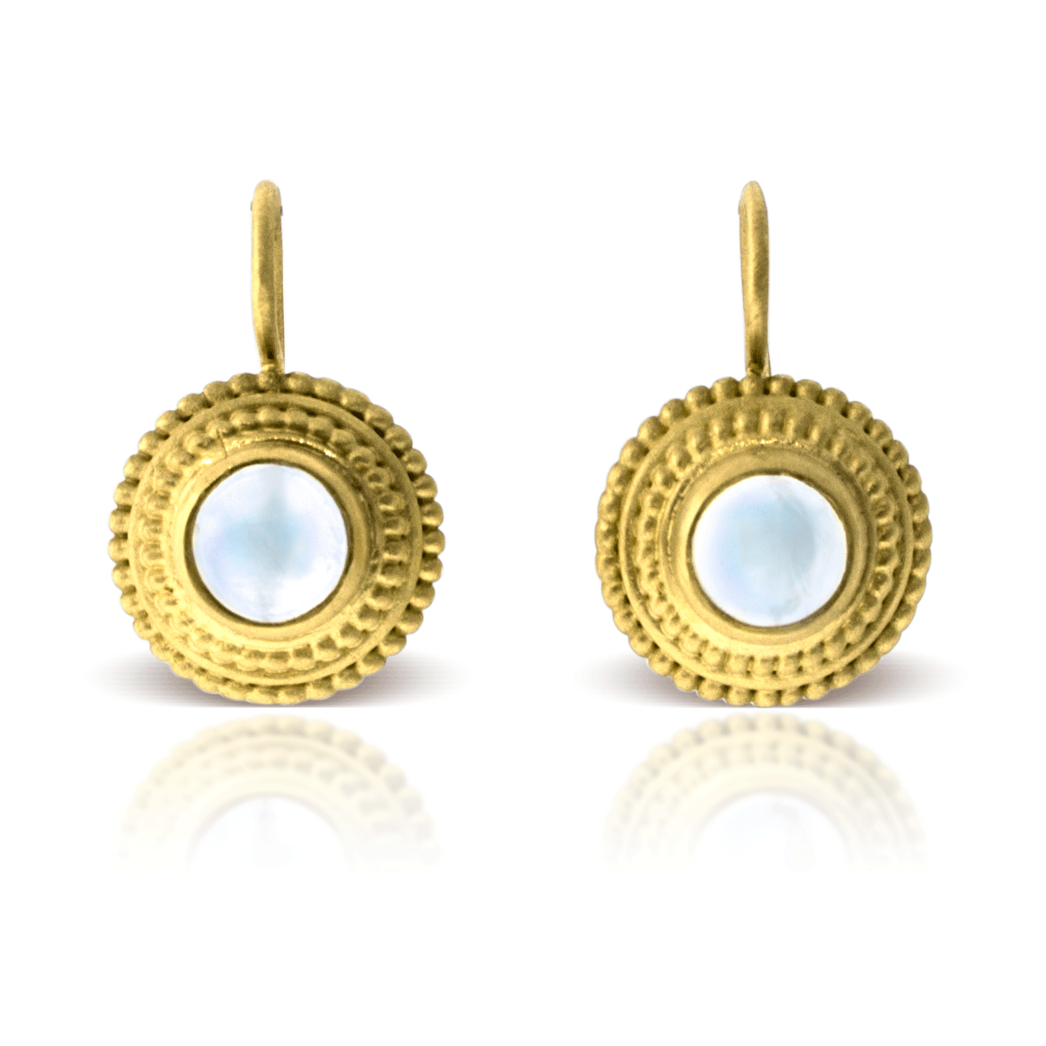 Ceylon Moonstone Granulation Earrings