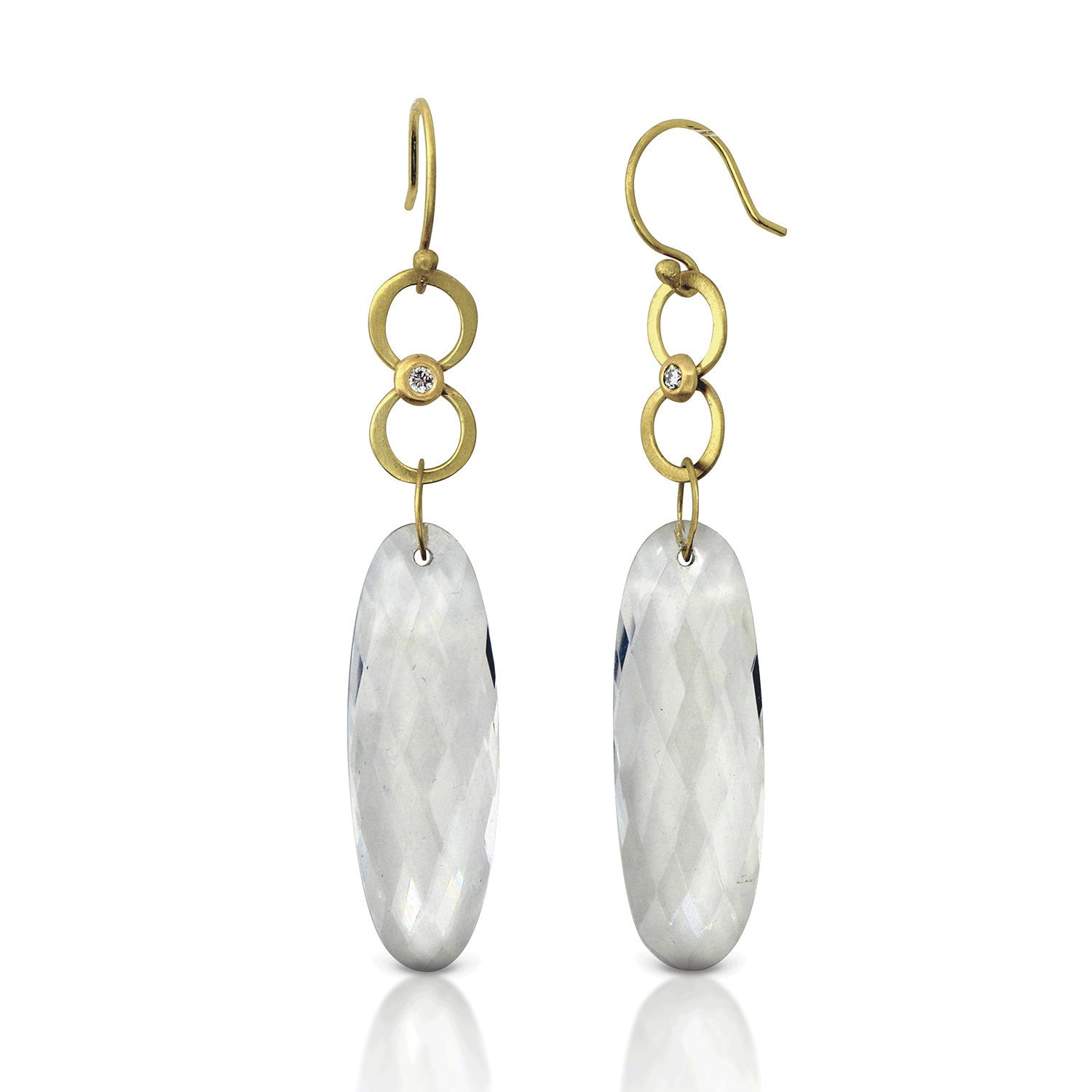 Diamond and Rock Crystal Quartz Drop Earrings