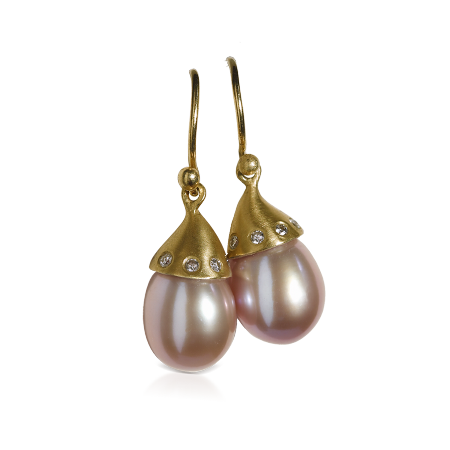 Freshwater Pearl Drop Earrings with Diamond Cap