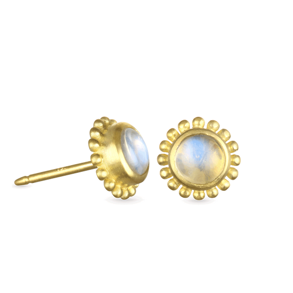Moonstone Granulation Stud Earrings
