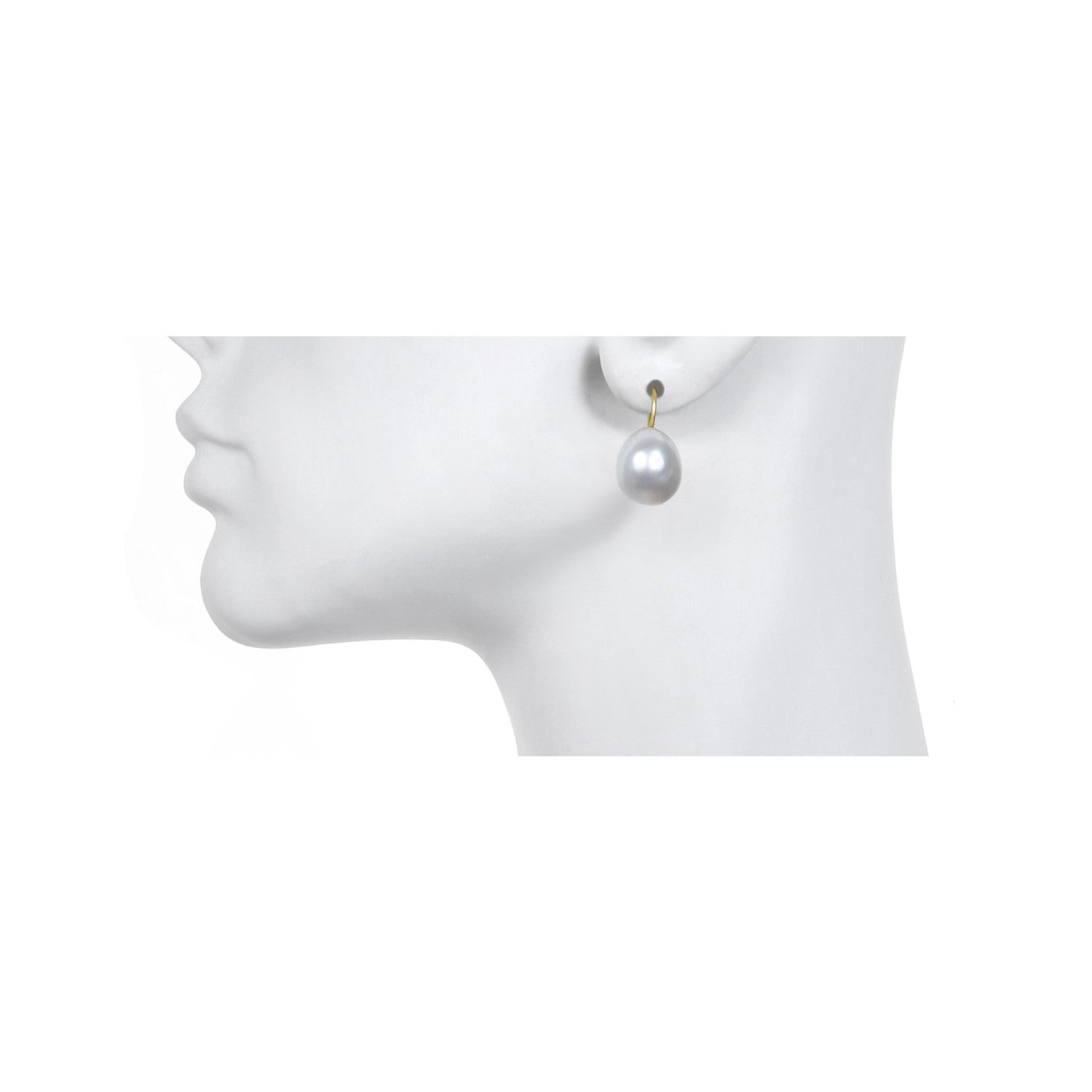 18k White South Sea Pearl Drop Earrings