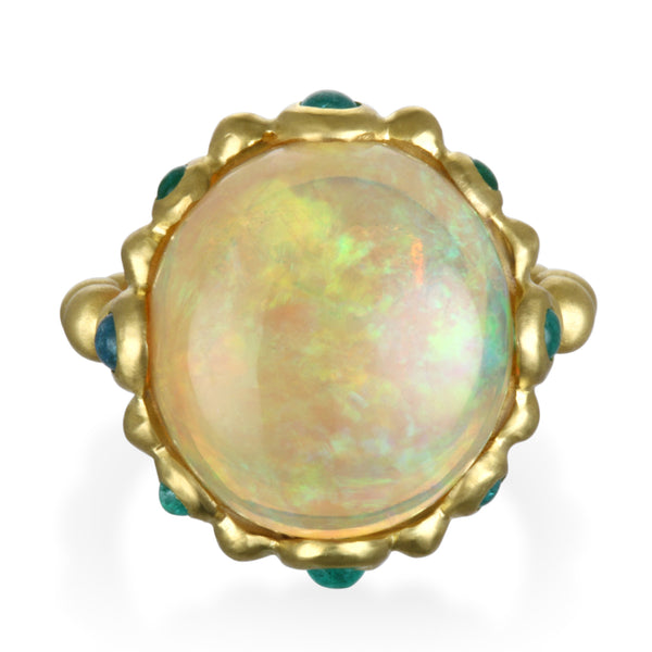 Ethiopian Opal and Paraiba Tourmaline Ring