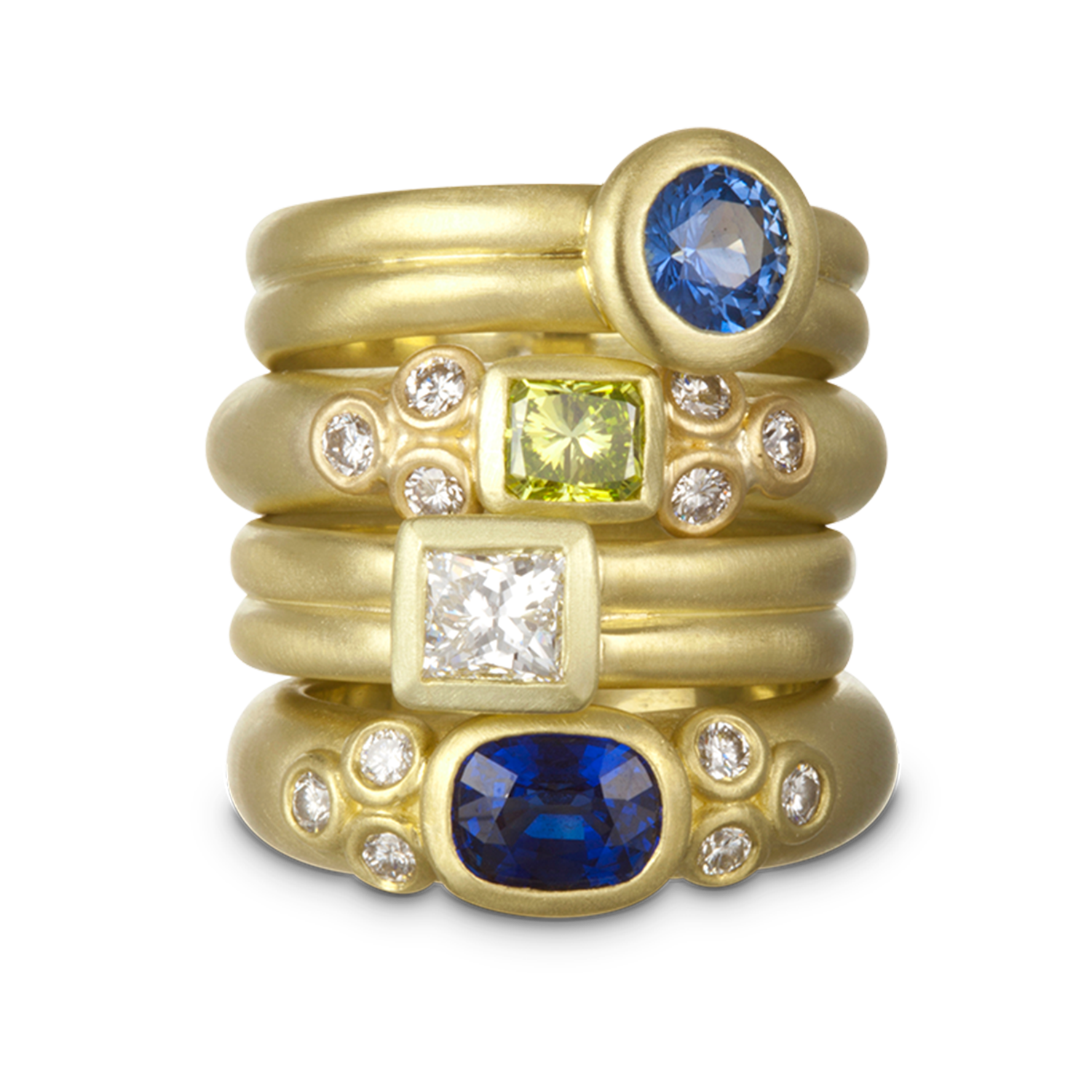 Diamond and Sapphire Stack Rings