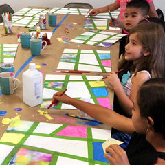 Children's Painting Parties in Sacramento.  This is a picture of a Mixed Media Art Private Art Party
