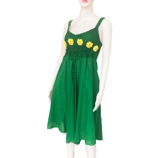 Vintage 1960s Green Smocked Sundress With Flowers